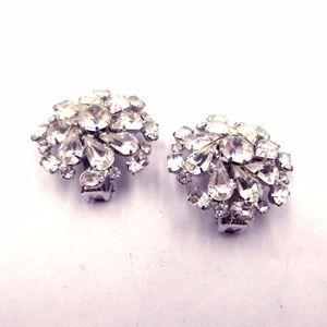 Vintage Weiss Rhinestone Clip-On Earrings